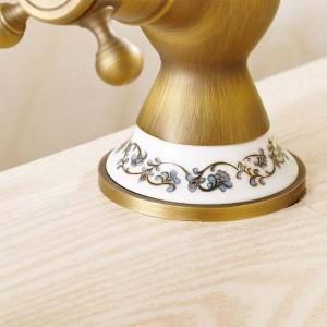 洗面台の蛇口アンティークブロンズ真鍮浴室のシンクの蛇口360度回転デュアルハンドルキッチン洗面台の蛇口タップトイレタップH-15