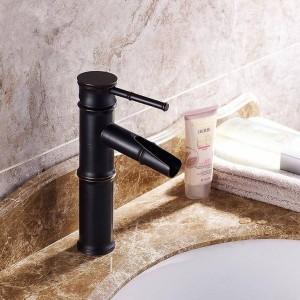 流域の蛇口真鍮オイルこすりブロンズ竹滝浴室のシンク蛇口デッキ盆地ブラックミキサーウォータータップSY-326R