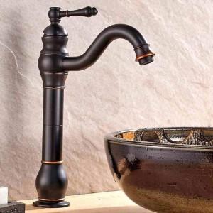 盆地の蛇口真鍮オイルこすりヨーロッパ浴室のシンクの蛇口1レバー穴カウンターデッキホットコールドMxier水栓9201