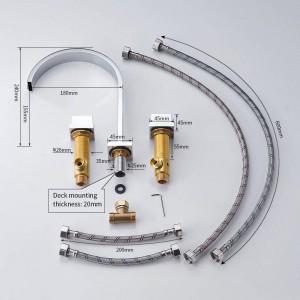 洗面台の蛇口真鍮ポリッシュクロームデッキマウントスクエア浴室のシンクの蛇口3穴ダブルハンドルホット&コールドウォータータップLAD-109