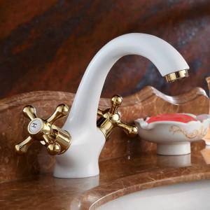 洗面台の蛇口真鍮白い浴室のシンクの蛇口デュアルハンドルデッキマウント風呂洗面台ホットコールドミキサー水タップトイレタップHJ-6655K