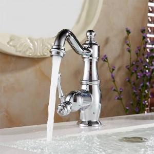 流域の蛇口クロームシルバー真鍮浴室のシンクシンク蛇口シングルハンドルスイベルホットコールドミキサーウォータータップBanheiro Torneira LH-6003L