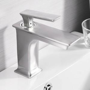 流域蛇口ファッションバスルームミキサータップ真鍮洗面台蛇口シングルハンドルシングルホールエレガントクレーン用浴室LAD-9916