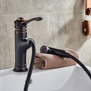 洗面器の蛇口は金の浴室の流しクレーン銅の流しのWCの混合弁を熱くし、風邪のデッキの取付けられた浴室の蛇口LAD-18043引き出します