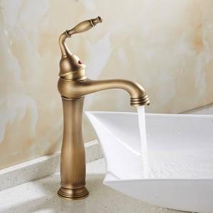 流域の蛇口ソリッドブラスデッキマウント浴室のシンクの蛇口シングルハンドル1穴簡単インストールヴィンテージアンティークミキサータップ9220F