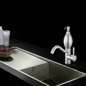 洗面台の蛇口ステンレス鋼304洗面台タップ付き新しい洗練されたニッケル単穴蛇口水ミキサータップ58816