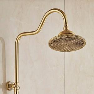 バス&シャワー蛇口真鍮アンティーク壁掛け降雨シャワーミキサータップスタイルデュアルハンドル浴室のシャワー蛇口10128