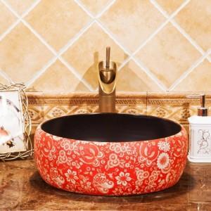 浴室Lavaboセラミックカウンタートップ洗面台クロークハンドペイントされた容器シンクバスルームシンクビンテージ洗面台シンク赤