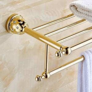 浴室用棚2層ソリッドブラスゴールドタオルラック風呂棚タオルホルダーハンガー壁掛け高級ホームデコタオルバー5212