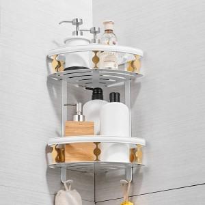 浴室用棚アルミ2段コーナーシェルフシャワーキャディ収納シャンプーバスケットウォールキッチンコーナースティッキーホルダー811015