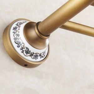 浴室用棚アンティーク真鍮製セラミックタオル棒タオル掛けハンガーバー浴室付属品高級風呂の壁棚HJ-1812