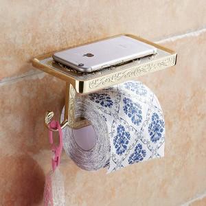 浴室の棚アンティーク彫刻トイレットペーパーロール紙棚付き壁掛け浴室のペーパーホルダーフック便利なWF1018