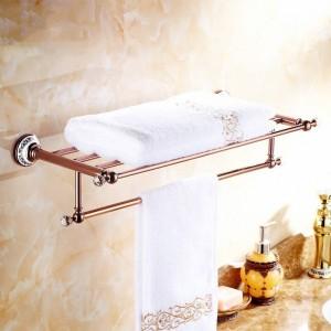 浴室用棚クリスタル銅クローム仕上げウォールシェルフゴールド真鍮タオルホルダータオルタック浴室用アクセサリータオルバー6303
