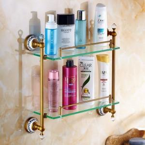 浴室用棚ダブル強化ガラス棚ソリッドブラスゴールデンシャワーラックウォールマウントバスシャンプー化粧品収納ホルダー6314