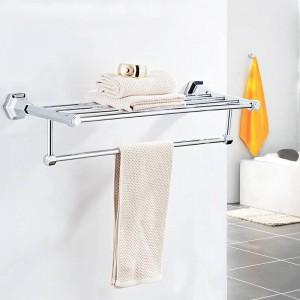 浴室の棚高品質壁掛け黒クローム仕上げタオル掛けホルダーハンガー風呂タオル服収納棚93012
