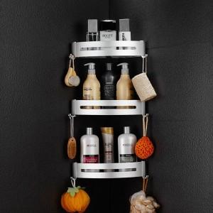 浴室用棚メタルクロームシャワーコーナー棚タオル掛けシャンプー化粧品ラックウォールマウントバスルームホルダーバスバスケット9240
