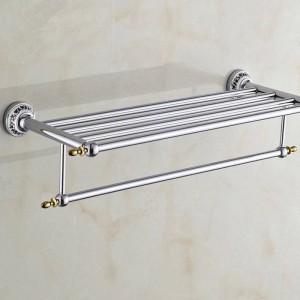 浴室の棚金属クロームシルバーの壁風呂棚ホルダー用タオルハンガータオル掛け浴室の付属品タオルバーST-6312