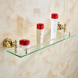 浴室用棚ソリッドブラスゴールデンシャワーウォールホルダーシャンプー収納ラックバスアクセサリーシングル強化ガラス棚5213