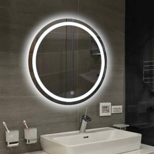 浴室壁ledライトミラーラウンド壁掛け洗面所トイレ化粧鏡タッチスイッチホワイト暖かい光mx12151606