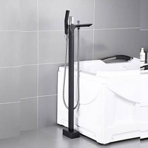 浴槽の蛇口真鍮ブラックフロアマウント浴室の蛇口スイベルスパウトシングルハンドル浴槽フィラーハンドシャワースプレータップXT401