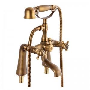 浴槽の蛇口アンティーク真鍮素材浴室のシャワーセット浴槽マウントミキサータップ浴室の蛇口デュアルホルダークレーンHJ-6053