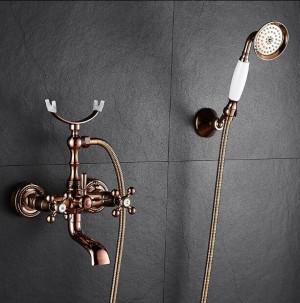 浴槽の蛇口真鍮高級ローズゴールド浴室のシャワーの蛇口セット降雨Douleハンドルシャワーシステム壁掛け蛇口XT 360