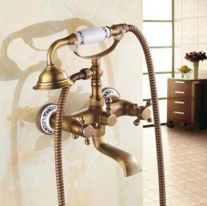 浴槽の蛇口壁掛けアンティーク真鍮起毛浴槽の蛇口ハンドシャワー付き浴室の浴室のシャワー蛇口Torneiras XT 354