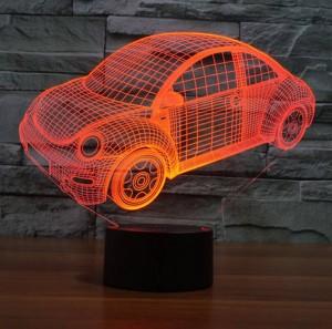 ビートルズ車の3Dイリュージョンランプ、LED usbタッチスイッチ常夜灯カラフルなグラデーションアクリル彫刻3Dビジュアルクリエイティブナイトライト