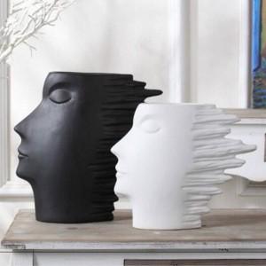 頭の黒と白のシリーズ抽象文字スカンジナビアのミニマリストの家の装飾ワインのキャビネットの装飾的な装飾