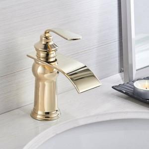 黒盆地蛇口モダンスタイル浴室の蛇口デッキマウント滝単穴ミキサータップ冷たいとお湯両方Crane9273