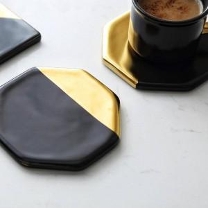 黒大理石メッキゴールドセラミックコースターカップマットパッド家の装飾キッチンツールデスクトップ滑り止め高級パッドヨーロッパスタイル