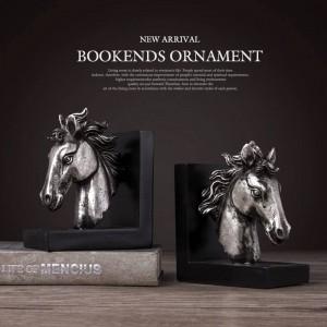 ブックエンド樹脂馬工芸ヴィンテージ研究室デスク装飾装飾品ギフト真鍮馬象頭動物置物本終了