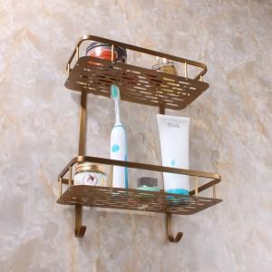 真鍮の浴室の付属品の台所およびホックのシャワーブラケットが付いている浴室の棚の二重層バスケット9102K