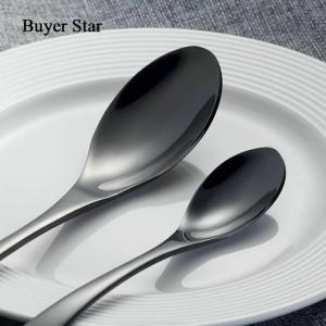 4ピース黒カトラリーセットステンレス鋼ゴールド食器セットナイフフォークテーブルフォーク黒食器セットドロップシッピング