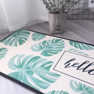 カーペット地の敷物ネルのフランネル滑り止めカーペットの敷物北欧シンプルなマット緑の葉長いキッチンベッドルームバスルームドアマットベッド