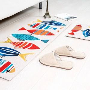 漫画パターン魚マットスクエアクッションキッチンドアパッド浴室滑り止め削除ほこりドアマットテーブルカーペット寝具キティラグ