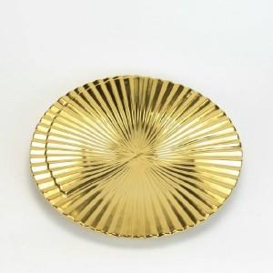 セラミック装飾ボウル現代の創造的な黄金の幾何学的な縦縞の家の装飾の装飾品