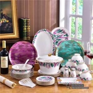 セラミック食器セットボーンファッションオリジナリティカラフルデザイン58ピース食器セットストライプディナーセットハウスウォーミング