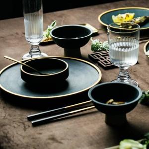 セラミックゴールドインレイプレートステーキ食品皿ノルディックスタイルレトロ食器ボウルインディナープレートカップハイエンド食器セット