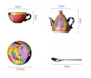 セラミックティーポットの飲み物セットカップとソーサーコーヒーティーセット手絵画アートデザイン食器ティーポット