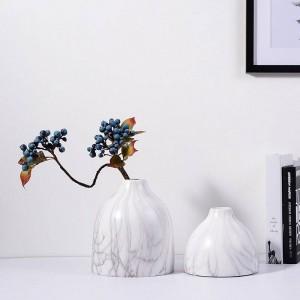 セラミック花瓶デスクトップ装飾ポットプランター大理石テクスチャ穀物アクセント装飾
