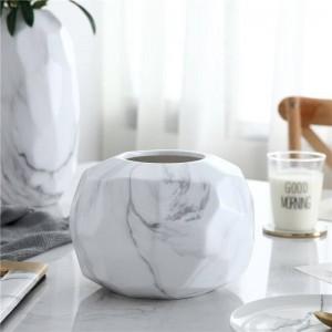 セラミック花瓶幾何学的現代ミニマリスト大理石パターンクリエイティブフラワーリビングルームダイニングテーブル柔らかい装飾