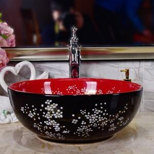 陶器洗面台梅黒磁器クラシックアート浴室流しセラミック洗面台