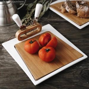 ナイフとフォークステーキ料理西洋料理カットフルーツブレッドボードプレートピザ朝食チョッピングボードクリエイティブ