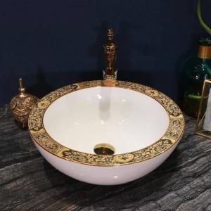 芸術的な手作りのセラミック洗面台Lavoboラウンドカウンタートップシンク浴室洗面台ボウルホワイトカラーブロードサイドゴールド