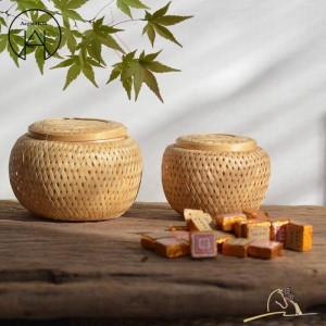 工芸品手作り竹茶缶食品収納バスケット人格茶キャニスターフルーツバスケットドライフルーツボックス茶アクセサリー