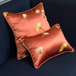 模造シルククッションカバー刺繍リーフ高級枕カバー投球枕クリスマスcojines decorativosパラソファ