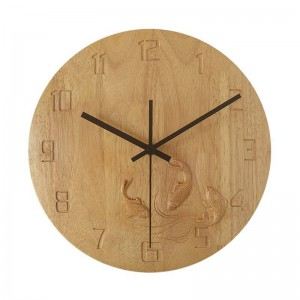 純木の創造的な壁時計手彫りの鯉の寝室木製の壁時計ミュートリビングルームの研究クロック