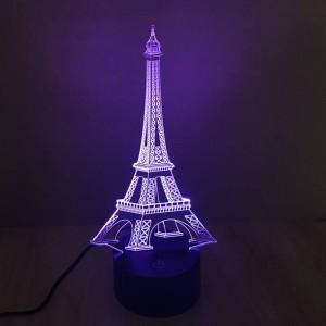 カラフルなエッフェル塔3dテーブルランプクリエイティブ3d錯覚ナイトライトタッチスイッチ7色グラデーションデコledデスクランプギフトとして