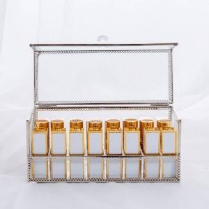化粧品口紅収納ボックスゴールドデスクトップボックス収納防塵ミラー透明化粧品収納ボックス